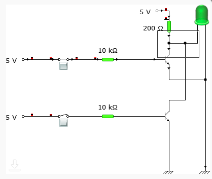 Circuit connection when one input is HIGH and the other is LOW