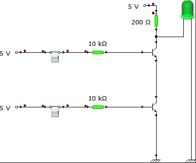 Circuit connection when both the inputs are HIGH.