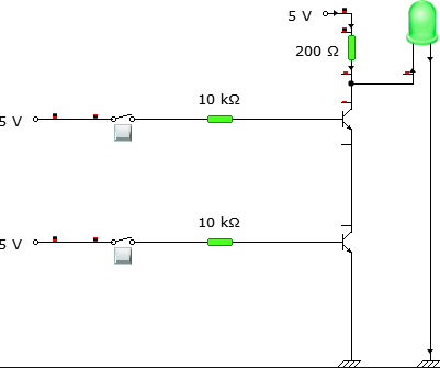 Circuit connection when both th inputs are LOW.