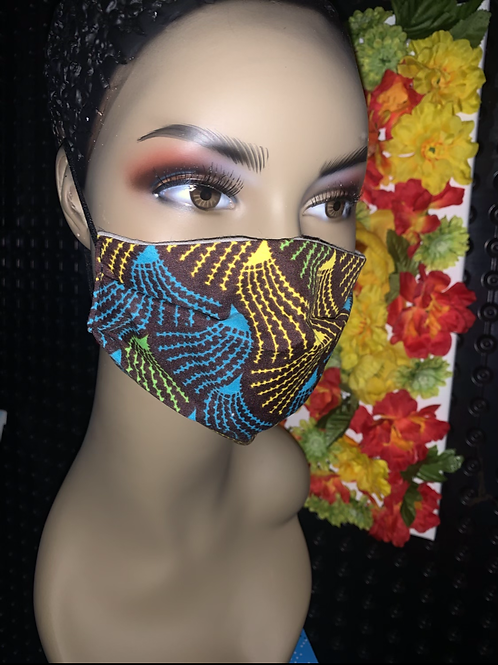 African brown print Pleated face mask