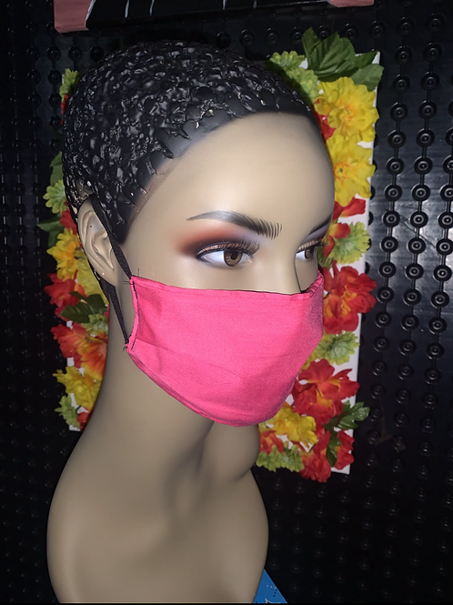 Fushia Pleated face mask
