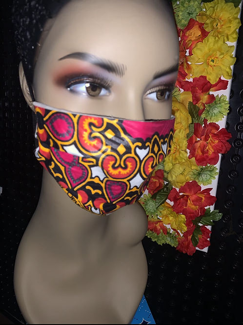 Dashiki pink print Pleated face mask