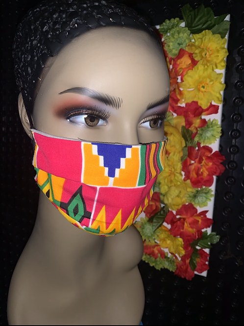 Kente pink print Pleated face mask