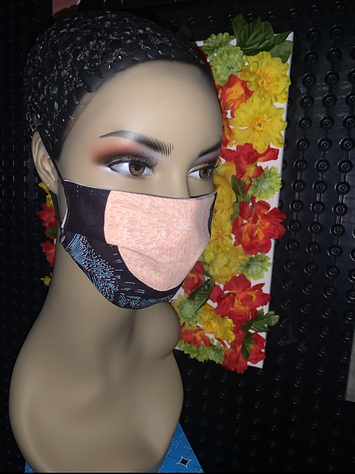 African black print Pleated face mask