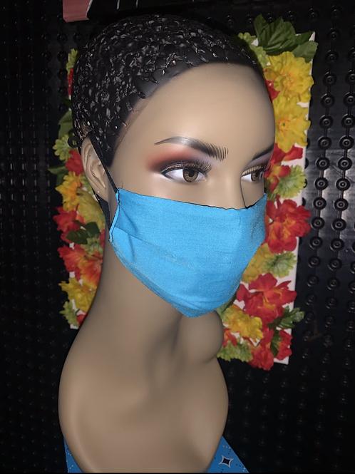 Aqua Pleated face mask