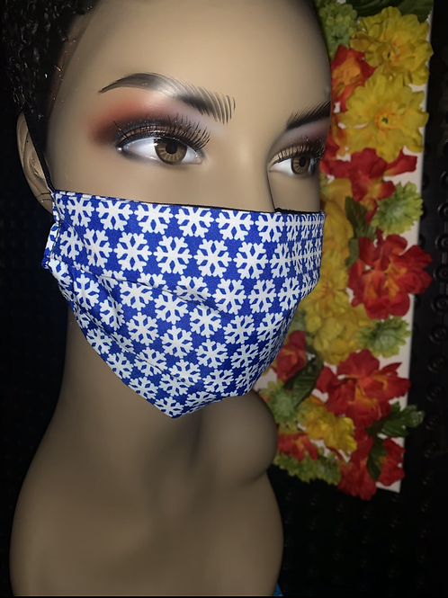 Snowflakes print Pleated face mask