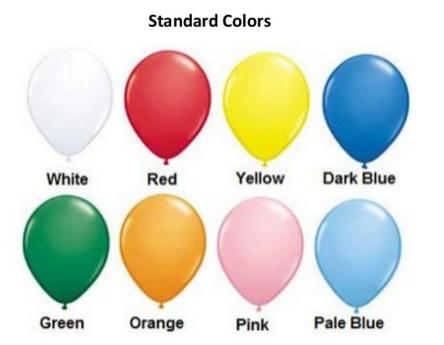 Standard Balloon Colours (Red, Yellow, Dark Blue, Green, Orange, Pink, Pale Blue)