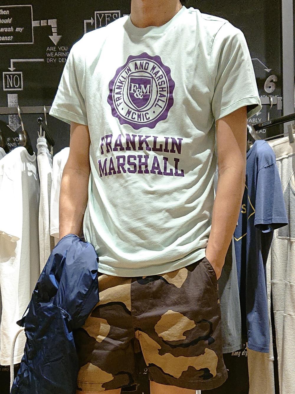FRANKLIN&MARSHAL フランクリンアンドマーシャル Tシャツ T-shirt アーチロゴ エンブレムロゴ