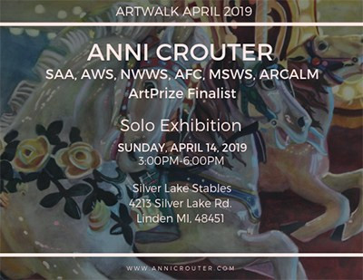 Image showing specifics of Solo Exhibit, with painting of carousels in background