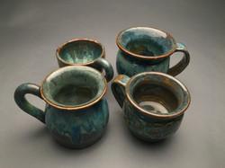 4 thrown mugs: view 2