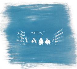 Night Riders - Cyanotype