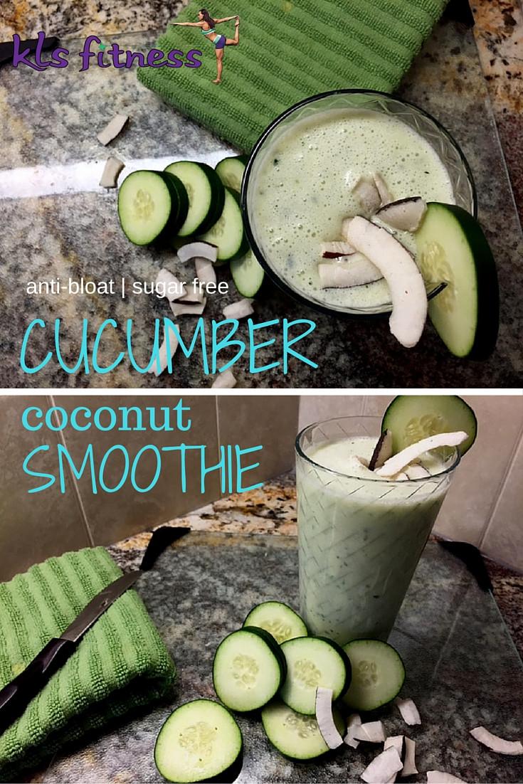 Siugar Free anti bloat cucumber coconut smoothie