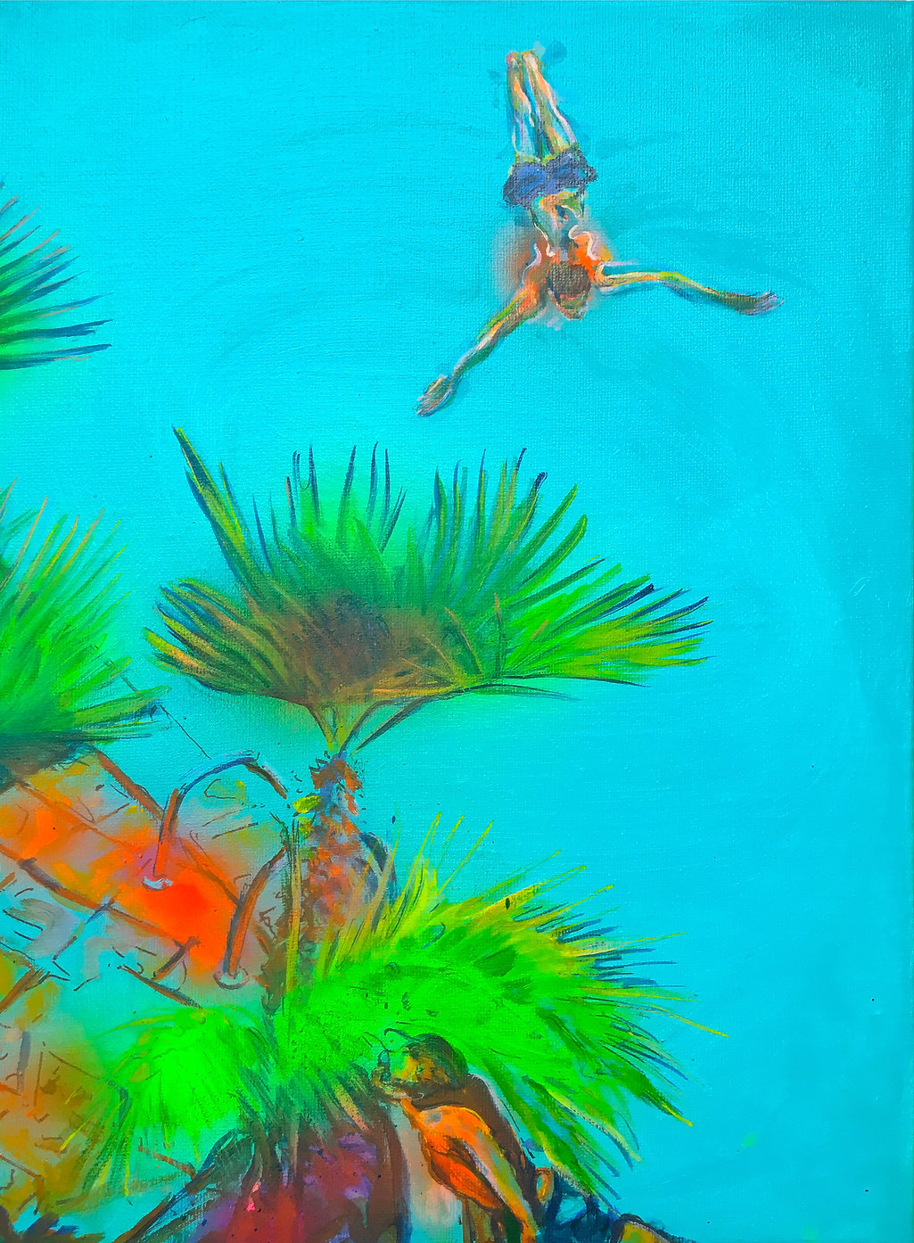 Poolside, 40 x 30 cm, mixed media on canvas