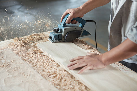 Joinery carpenter cutting