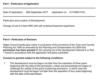 Planning permission approval for HMO applications.