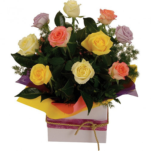Gorgeous Box of Coloured Roses (x10)