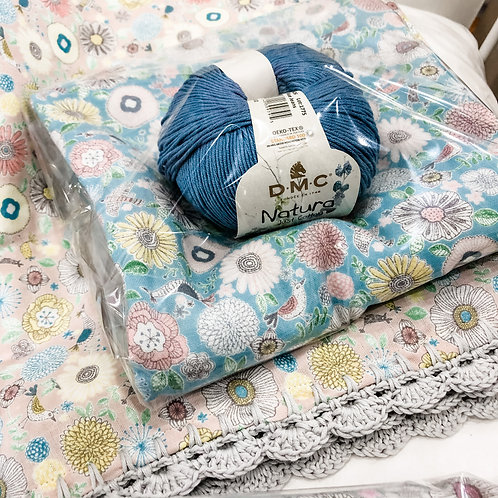 Crochet Edge Baby Blanket Kit (blue)