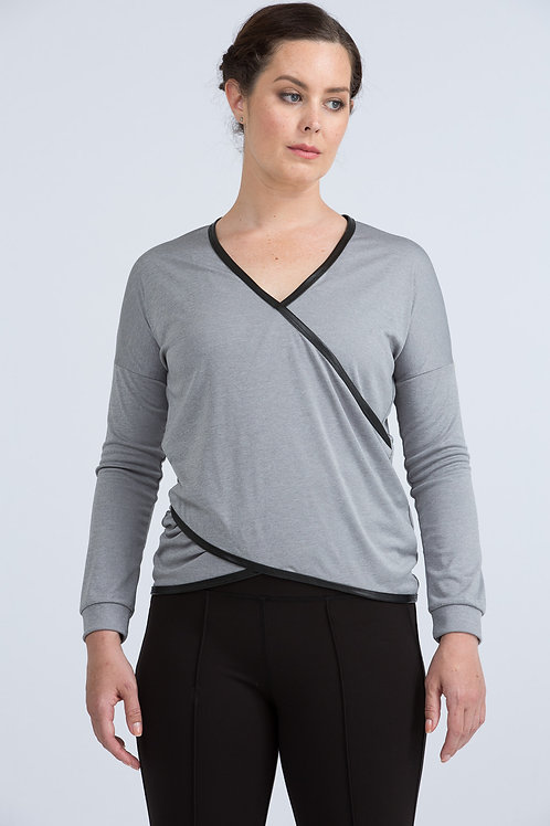 Emily Wrap Top (olive green and heather grey)