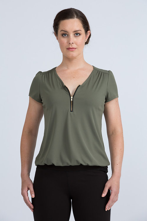 Roca Zip Front Top (olive green and heather grey)