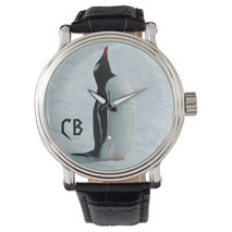 """Monogrammed """"Penguin Points to Noon"""" Watch"""