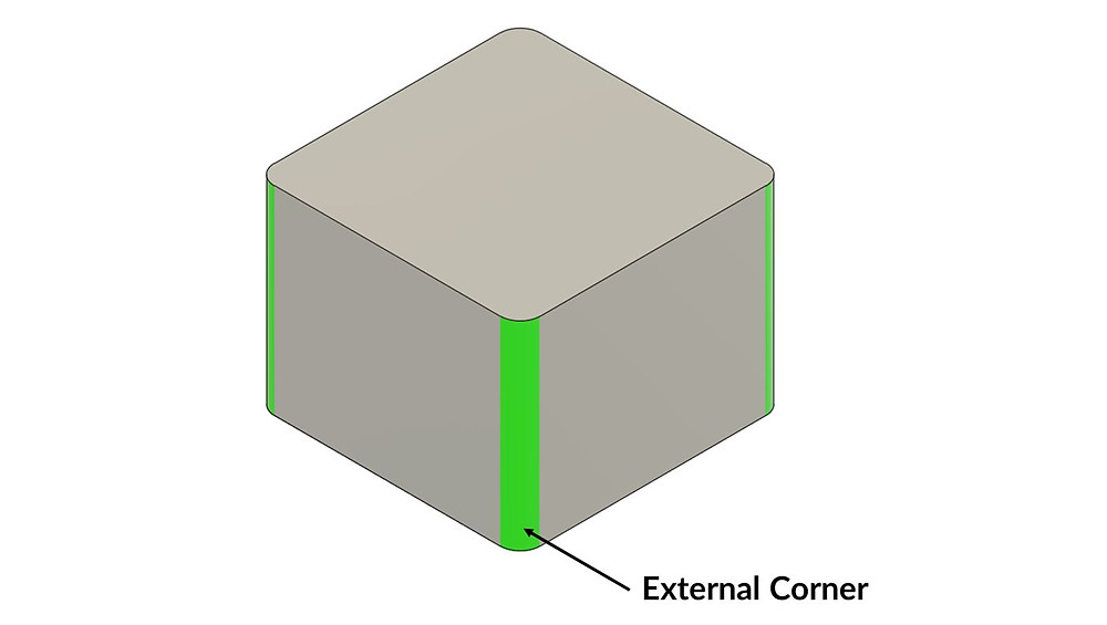 Adding external corners is free and should be done when designing for a CNC milling process