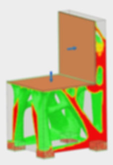 Results of FEA shape optimization on a chair in fusion 360