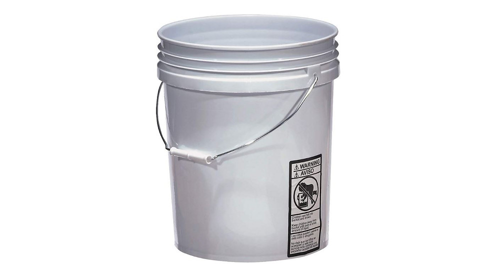 large white 5 gallon bucket that is useful for mixing epoxy granite