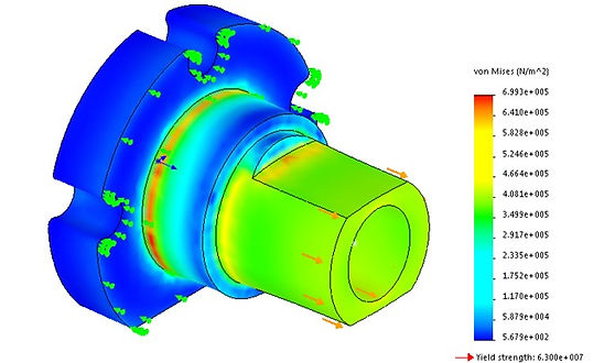 doing finite element analysis on the anti backlash leadnut to check for stresses and strains