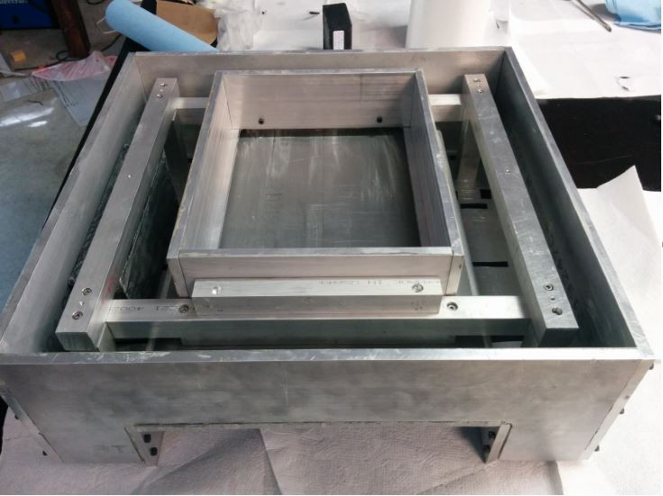 Skeleton frame inserted into mold for epoxy granite casting