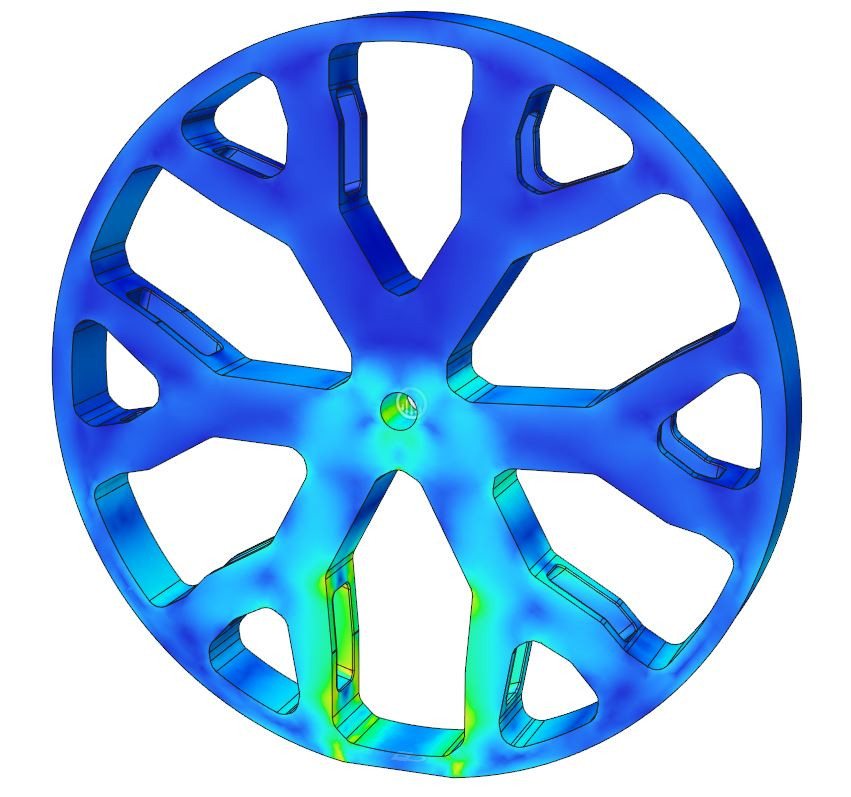 Stress in a wheel calculated using FEA in autodesk fusion 360
