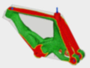 Results of FEA shape optimization on a bike frame in fusion 360