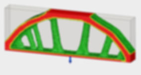 Results of FEA shape optimization on a bridge in fusion 360