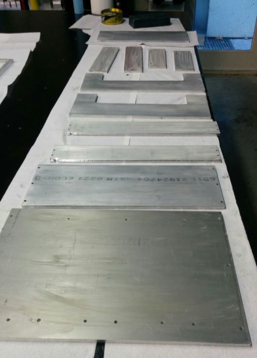 Aluminum mold plates that are used to build a 3D mold for casting epoxy granite