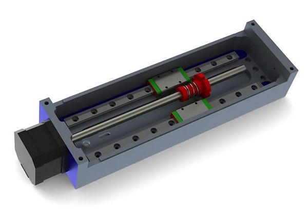 Assembly of the stepper motor and lead screw into the frame of a linear stage