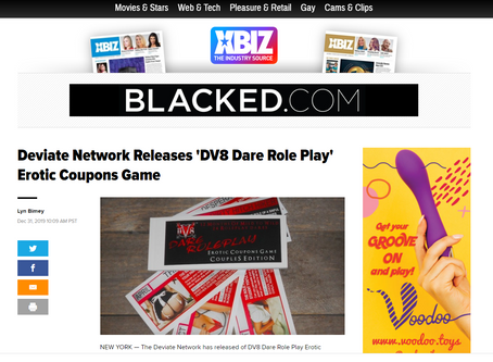 In the News! Deviate Network Releases 'DV8 Dare Role Play' Erotic Coupons Game