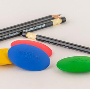 Pencils. Erasers. Sharpeners