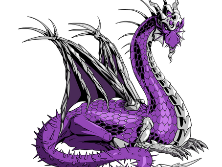 Illustration d'un dragon violet et argenté..