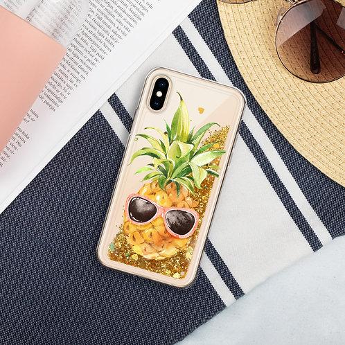 Sunny Pineapple Liquid Glitter Phone Case