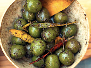 On the table: Olives with Za'atar and citrus