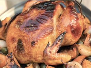 On the table: Roast Chicken