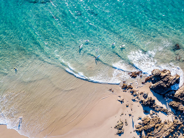 The Pass at Byron Bay from an aerial vie
