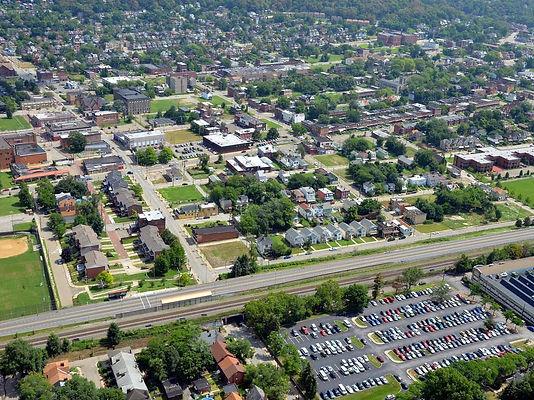 Aerial view of Homewood neighborhood in Pittsburgh, PA