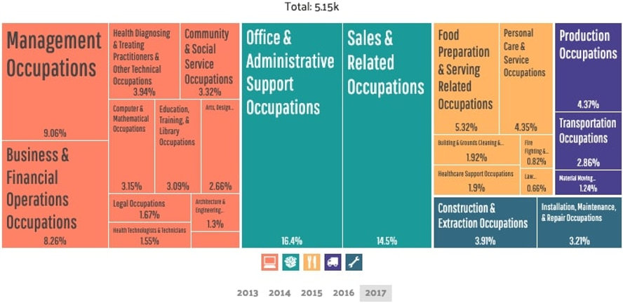 Bellevue - Employment by Occupations (3)