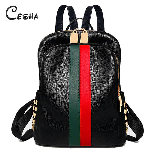 Luxury Famous Brand  Leather Backpack Female Casual Shoulders Bag Teenager  Bag