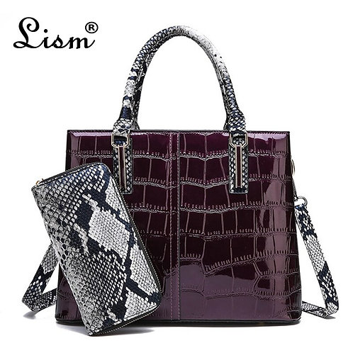 2020 New Patent Leather Handbag Luxury Crocodile Tote Bag Shoulder Bags Handbags
