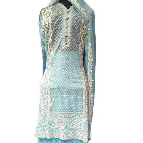 Airline Net Resham Embroidered Dress