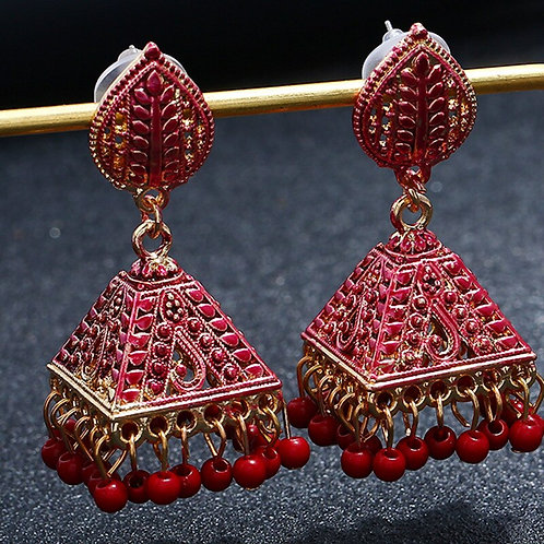Mexican Women Gold Jhumka Earrings Indian Jewelry Ethnic Pakistan Hippie Tribe
