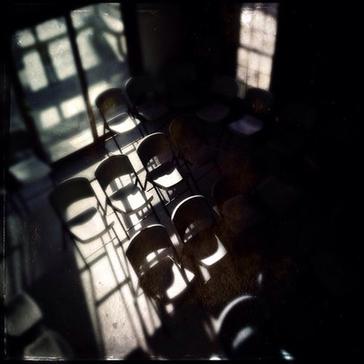 Sunlight streaming through worship room