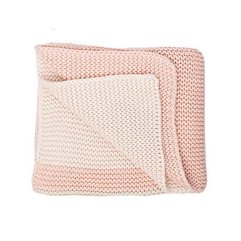 CHUNKY KNIT BLANKET- PINK