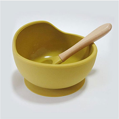 SILICONE SUCTION BOWL SET- MUSTARD